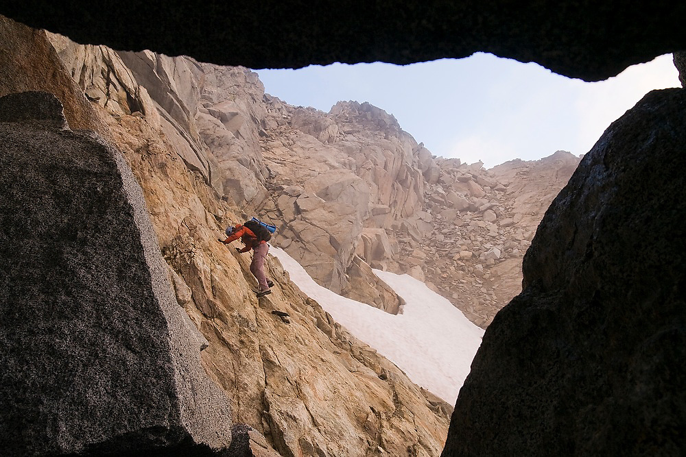 Obadiah Reid descends the Cascadian Couloir on Mount Stuart, Alpine Lakes Wilderness, Washington.