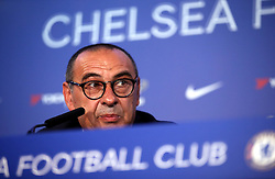 """New Chelsea manager Maurizio Sarri during a press conference at Stamford Bridge, London. PRESS ASSOCIATION Photo. Picture date: Wednesday July 18. 2017. See PA Story SOCCER Chelsea. Photo credit should read: Steve Paston/PA Wire. EDITORIAL USE ONLY No use with unauthorised audio, video, data, fixture lists, club/league logos or """"live"""" services. Online in-match use limited to 75 images, no video emulation. No use in betting, games or single club/league/player publications."""