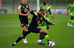 Josh March of Forest Green Rovers competes with Luther Wildin of Stevenage- Mandatory by-line: Nizaam Jones/JMP - 17/10/2020 - FOOTBALL - innocent New Lawn Stadium - Nailsworth, England - Forest Green Rovers v Stevenage - Sky Bet League Two