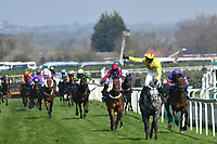 National Hunt Horse Racing - 2019 Randox Health Grand National Festival - Saturday, Day Three (Grand National Day)<br /> <br /> 1st placed Harry Skelton on no 2 Aux Ptits Soins, wins field in the 1.45 Gaskells Handicap Hurdle (Grade 3) (Class 1)<br /> at Aintree Racecourse.<br /> <br /> COLORSPORT/WINSTON BYNORTH