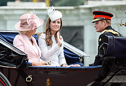 © Licensed to London News Pictures. 14/06/2014. London, UK Prince Harry; Camilla Duchess of Cornwall; Catherine Duchess of Cambridge, Trooping the Colour, Buckingham Palace, London UK, 14 June 2014. Photo credit : Mike Webster/PIQ/LNP