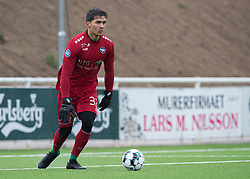 Kevin Mendoza (HB Køge) under træningskampen mellem FC Helsingør og HB Køge den 22. februar 2020 på Helsingør Ny Stadion (Foto: Claus Birch).