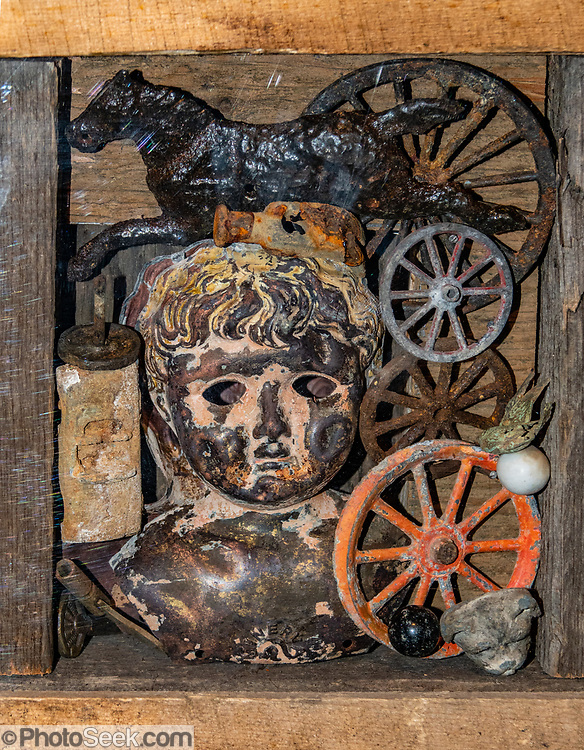 Artwork made of antique items. San Juan County Historical Society Museum, Silverton, Colorado, USA. Silverton is a former silver mining camp, now the federally-designated Silverton Historic District. Durango is linked to Silverton by the Durango and Silverton Narrow Gauge Railroad, a National Historic Landmark. Silverton no longer has active mining, but subsists on tourism, maintenance of US 550 (which links Montrose with Durango), mine pollution remediation, and retirees.
