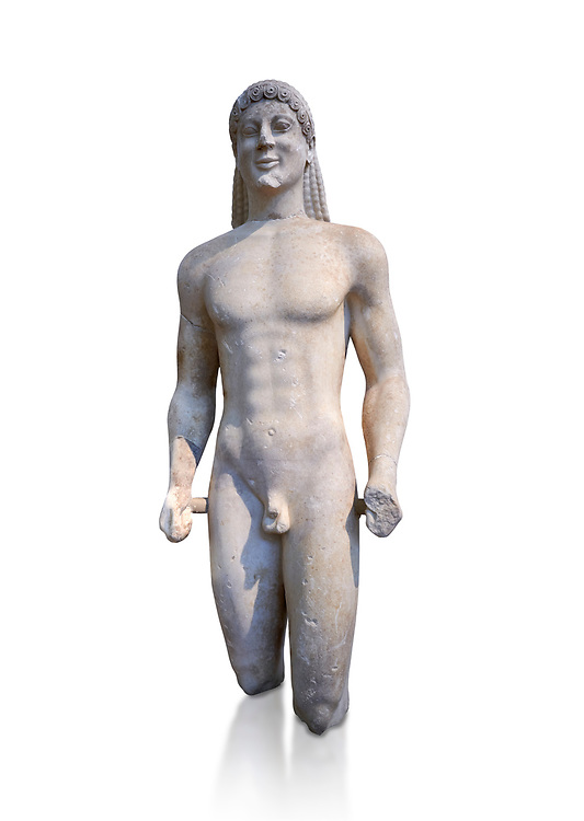 Marble Anxcient Greek Archaic meble statue of a kouros, circa 500 BC, Athens National Archaeological Museum.  Against white. .<br /> <br /> If you prefer to buy from our ALAMY STOCK LIBRARY page at https://www.alamy.com/portfolio/paul-williams-funkystock/greco-roman-sculptures.html . Type -    Athens    - into LOWER SEARCH WITHIN GALLERY box - Refine search by adding a subject, place, background colour, etc.<br /> <br /> Visit our ROMAN WORLD PHOTO COLLECTIONS for more photos to download or buy as wall art prints https://funkystock.photoshelter.com/gallery-collection/The-Romans-Art-Artefacts-Antiquities-Historic-Sites-Pictures-Images/C0000r2uLJJo9_s0