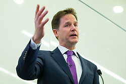 © licensed to London News Pictures. London, UK 23/04/2014. Deputy Prime Minister Nick Clegg speaks about shared parental leave and extended rights to request flexible working, and related Government initiatives as he takes part at the launch of 'Cityfathers' which aims to provide a forum for working fathers balancing office and family life. Photo credit: Tolga Akmen/LNP
