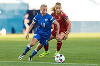 Finland's Emmi Alanen and Spain's Alexia Putellas during the match of  European Women's Championship 2017 at Leganes, between Spain and Finland. September 20, 2016. (ALTERPHOTOS/Rodrigo Jimenez)