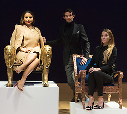 "Bonhams, London, February 29th 2016. Emma, Viscountess Weymouth of Longleat seated in the Lion chair she created with Made In Chelsea stars Mark Francis Vandelli and Victoria Baker-Harber during a photocall for ""Sitting Pretty"", featuring unique, hand painted and upholstered chairs made by 30 celebrities and artists, at Bonhams ahead of their auction in support of a leading AIDS charity, CHIVA Africa.<br /> ©Paul Davey<br /> FOR LICENCING CONTACT: Paul Davey +44 (0) 7966 016 296 paul@pauldaveycreative.co.uk"