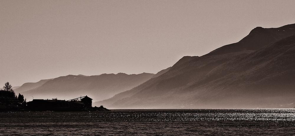 Norway - Rodvenfjord panorama BW
