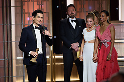 "Jan 8, 2017 - Beverly Hills, California, U.S - The Golden Globe is awarded to DAMIEN CHAZELLE for BEST DIRECTOR – MOTION PICTURE for ""La La Land"" at the 74th Annual Golden Globe Awards at the Beverly Hilton in Beverly Hills, CA on Sunday, January 8, 2017. (Credit Image: ? HFPA/ZUMAPRESS.com)"