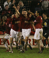 Photo: Mark Stephenson.<br />Walsall v Bristol Rovers. Coca Cola League 2. 30/12/2006.<br />Walsall's Scott Dann gets their second goal.