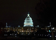 © Licensed to London News Pictures. 31/12/2012. Washington DC, USA . The United States Capitol pictured at night. IT is the meeting place of the United States Congress, it sits atop Capitol Hill at the eastern end of the National Mall. Photo credit : Stephen Simpson/LNP