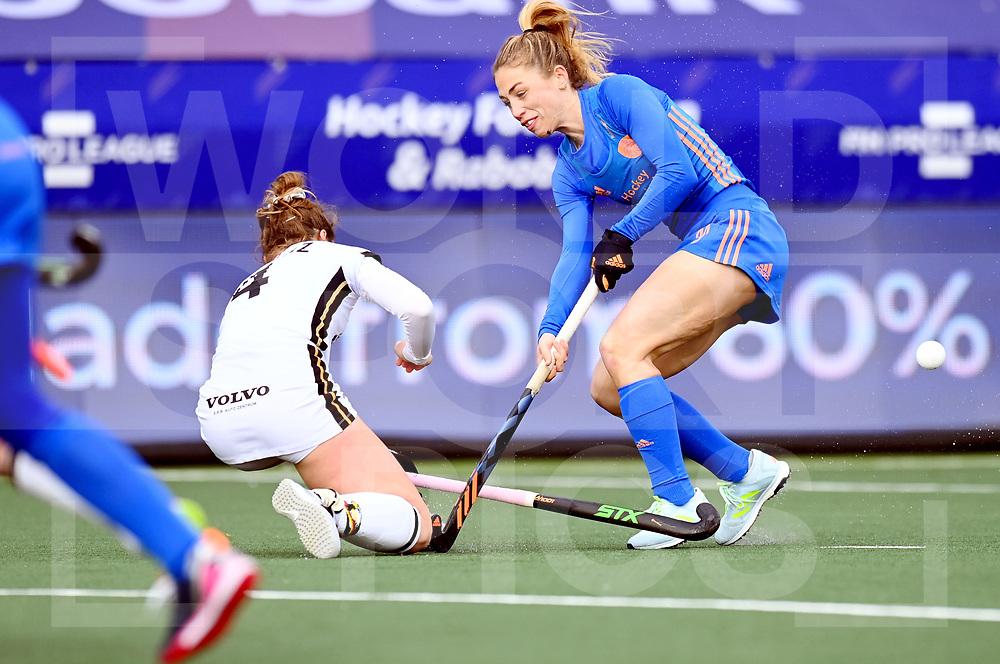 AMSTELVEEN FIH Pro League 2020<br /> Netherlands v Germany <br /> Picture: Laura Nunnink  and Nike Lorenz <br /> WORLDSPORTPICS COPYRIGHT FRANK UIJLENBROEK