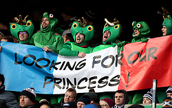 Fans dressed as frogs hold up a France flag that reads 'Looking For Our Princess!' in the stands hold up during the NatWest 6 Nations match at BT Murrayfield, Edinburgh.