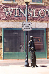"""Standing on the Corner"" in Winslow Arizona Statue. 24 March 2008"