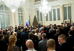 Athletes reception at Slovenian president Borut Pahor prior to the Slovenian Sports personality of the year 2013 annual awards presented on the base of Slovenian sports reporters, on December 19, 2013 in President palace, Ljubljana, Slovenia.  Photo by Vid Ponikvar / Sportida
