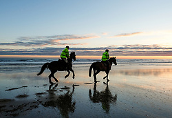 © Licensed to London News Pictures. <br /> 07/04/2017<br /> Saltburn-by-the-Sea, UK. <br />  <br /> Riders and their horses take an early morning ride out on the beach at Saltburn-by-the-Sea in North Yorkshire. <br /> <br /> <br /> Photo credit: Ian Forsyth/LNP