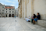 Women selling lace, outside Cathedral of Saint Jacob (Sveti Jakova), Sibenik, Croatia. Sometimes also referred to as Cathedral of Saint James.