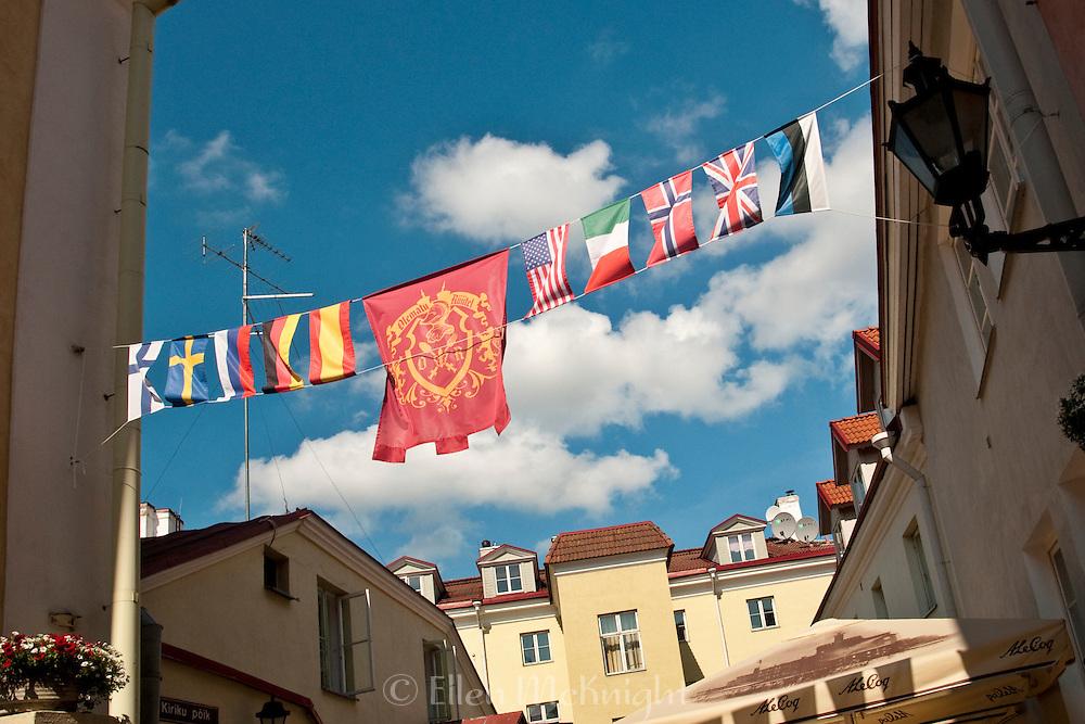 International Flags above a courtyard in Tallinn, Estonia
