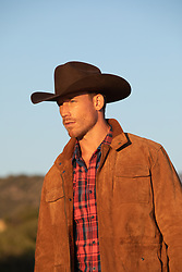 hot cowboy at sunset