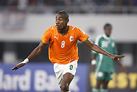 Fotball<br /> Afrika-mesterskapet 2008<br /> Foto: DPPI/Digitalsport<br /> NORWAY ONLY<br /> <br /> FOOTBALL - AFRICAN CUP OF NATIONS 2008 - QUALIFYING ROUND - GROUP B - 21/01/2008 - NIGERIA v IVORY COAST - JOY SALOMON KALOU (IVO) AFTER HIS GOAL<br /> <br /> Nigeria v Elfenbenskysten