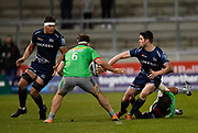 Sale Sharks full back Luke James offloads to flanker Jonno Ross during a Gallagher Premiership match won by Sale Sharks 27-17 at the AJ Bell Stadium, Eccles, Greater Manchester, United Kingdom, Friday, April 5, 2019. (Steve Flynn/Image of Sport)