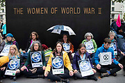 A group meditate on Whitehall on 7th October, 2019 in London, Untited Kingdom. Extinction Rebellion plan to occupy 12 sites situated around key Government locations around Westminster for two weeks to protest against climate change.