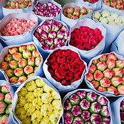 Bunches of flowers at Hong Kong flower market