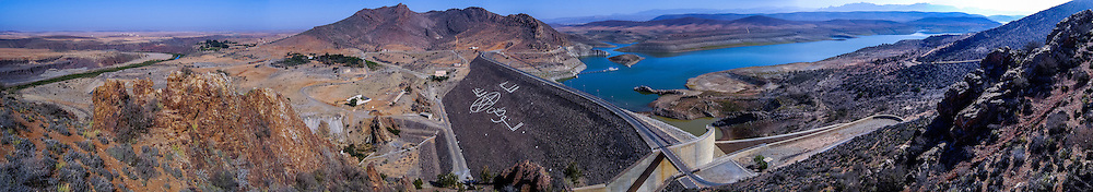 Panorama. Barrage Youssef Ben Tachfine is a dam in the province of Tiznit south oif Agadir, Morocco, opened in 1972.