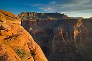 Sunset light on steep cliffs at Toroweap, Grand Canyon National Park, Arizona