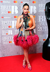Jorja Smith with her Best British Female Solo Artist Brit Award in the press room at the Brit Awards 2019 at the O2 Arena, London.
