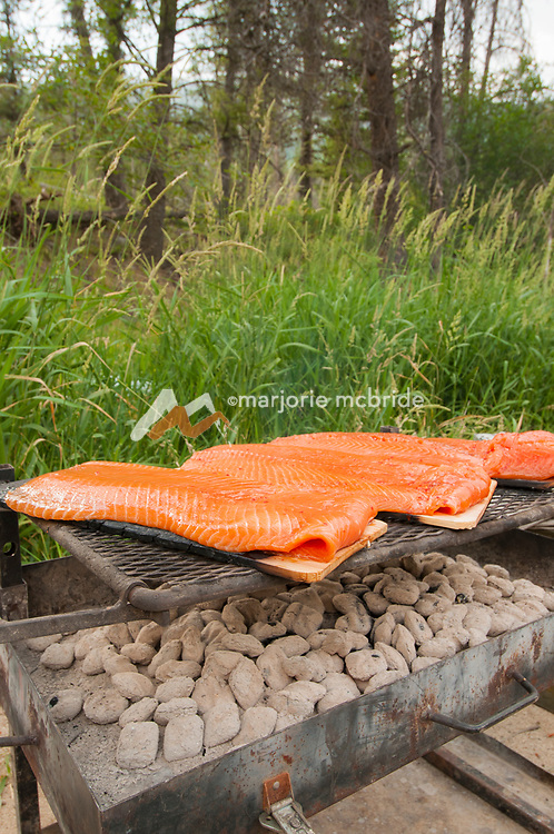 Cedar plank salmon dinner cooking at Sheepeater Camp, Middle Fork of the Salmon River, Idaho.
