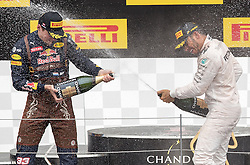 03-07-2016 AUT: Grand Prix van Oostenrijk Formule 1 Red Burg Ring, Spielberg<br /> Podium f.l. 2nd placed Dutch Formula One driver Max Verstappen of Red Bull Racing Race winner British Formula One driver Lewis Hamilton of Mercedes AMG F1 during the Race for the Austrian Formula One Grand Prix at the Red Bull Ring in Spielberg<br /> <br /> ***NETHERLANDS ONLY***