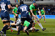 Harlequins full back Mike Brown scores his record breaking 90th try for Harlequins during a Gallagher Premiership match won by Sale Sharks 27-17at the AJ Bell Stadium, Eccles, Greater Manchester, United Kingdom, Friday, April 5, 2019. (Steve Flynn/Image of Sport)