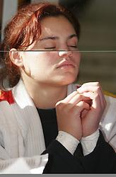 Girl at meditation. (Photo by Vid Ponikvar / Sportal Images)
