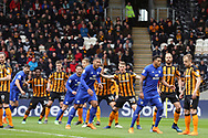 Hull City defensive line as Cardiff City attack during the EFL Sky Bet Championship match between Hull City and Cardiff City at the KCOM Stadium, Kingston upon Hull, England on 28 April 2018. Picture by Mick Atkins.