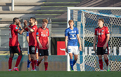 Målscorer Mohamed Daramy (FC København) lykønskes af Michael Santos efter scoringen til 1-2 under kampen i 3F Superligaen mellem Lyngby Boldklub og FC København den 1. juni 2020 på Lyngby Stadion (Foto: Claus Birch).