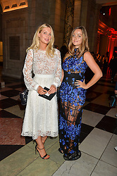 Left to right, sisters OLIVIA NEWMAN-YOUNG and FRANCESCA NEWMAN-YOUNG at the Revlon Choose Love Masquerade Ball held at the V&A Museum, Cromwell Road, London on 21st July 2016.