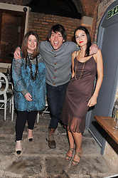 Left to right, ELAINE FORAN, ALEX JAMES and YASMIN MILLS at an evening of cheesey culinary delights & champagne hosted by Alex James, Yasmin Mills and Elaine Foran held at Aubaine, 31 Dover Street, London on 20th March 2012.