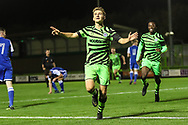 Forest Green Rovers Dan Bradshaw(38) scores a goal 3-0 and celebrates during the FA Youth Cup match between Forest Green Rovers and Helston Athletic at the New Lawn, Forest Green, United Kingdom on 29 October 2019.