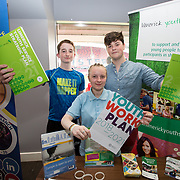31.05.2018.          <br /> Limerick and Clare Education Training Board launch Youth Work Plan 2018-2021 at Thomond Park Limerick with Pat Breen TD, Minister of State with special responsibility for Trade, Employment, Business, EU Digital Single Market and Data Protection, Clare. <br /> <br /> Pictured at the event were, Shane Brown, Jacqueline Hogan and Tadhg Hession, Limerick Youth Service. Picture: Alan Place