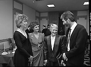 People Of The Year Awards.  (R91)..1988..22.11.1988..11.22.1988..22nd November 1988..This is the fourteenth year of the People of the Year Awards, sponsored by the New Ireland Assurance Company plc. The awards will be presented by Mr Ray Burke TD, Minister of Energy and Communications. Eight people have been nominated this year..Mr Ollie Jennings, for his contribution to community and cultural life of Galway City..Mr Jack Charlton, for restoration of pride to the Irish Soccer team..Ms Carmencita Hederman, For her efforts to instill a community spirit in Dublin..Maureen O'Mahony, for her dedication in assisting the sick and elderly in the Bantry area..Mr Tommy Boyle, for his contribution in having the Garda band ranked as one of the top bands in the world..Ms Alice Leahy, for a lifetime commitment in providing medical care to the Dublin Homeless..Ms Norma Smurfitt, for her voluntary contribution to the work of the Arthritis Foundation Of ireland..Mr Gordon Wilson, for his commitment to peace and reconcilliation in Northern Ireland...Award winners Ms Norma Smurfit, Ms Carmencita Hederman, Ms Alice Leahy and Mr Ollie Jennings pictured at the Burlington Hotel for the people of the Year presentations.