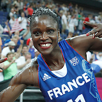 09 August 2012: France Emilie Gomis celebrates after the 81-64 Team France victory over Team Russia, during the women's basketball semi-finals, at the 02 Arena, in London, Great Britain.