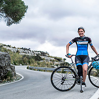 German Paralympian Denise Schindler, Mallorca, Spain. Denise lost her lower leg in an accident as a child and uses a custom carbon fibre blade to clip into her right pedal. She is a twice World Champion, and Olympic silver medalist.