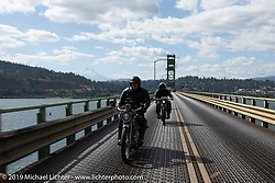 Dave Currier rode his 1915 Harley-Davidson model F with Milwaukee Tools behind him as a sponsor, in the Motorcycle Cannonball coast to coast vintage run. Stage 15  (51 miles - the Grand Finish) from The Dalles to Stevenson, OR. Sunday September 23, 2018. Photography ©2018 Michael Lichter.