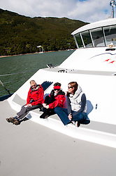 New Zealand, South Island, Green Mussel Cruise out of Havelock, Marlborough, on ship Odyssea to see mussel farming and scenery in Kenepuru Sound. Photo copyright Lee Foster. Photo #126160