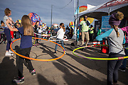 Wali Collins host a hula hoop competition at the AARP Block Party at the Albuquerque International Balloon Fiesta in Albuquerque New Mexico USA on Oct. 7th, 2018.