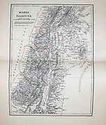 Ancient 19th century map of 'Modern' Palestine from the book Palestine illustrated by Sir Richard Temple, 1st Baronet, GCSI, CIE, PC, FRS (8 March 1826 – 15 March 1902) was an administrator in British India and a British politician. Published in London by W.H. Allen & Co. in 1888