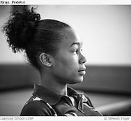 A LEEP student listening in class.