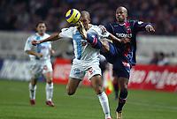 Fotball<br /> Frankrike 2004/05<br /> Paris Saint Germain v Olympique Marseille<br /> 6. november 2004<br /> Foto: Digitalsport<br /> NORWAY ONLY<br /> FABRICE PANCRATE (PSG) / EDUARDO COSTA (OM)