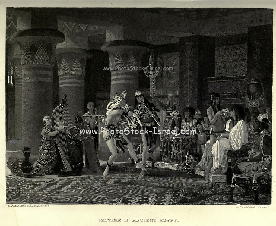 19th Century Steel Engraving of Pastime in Ancient Egypt Dancing and Music in a great hall. From the book 'Picturesque Palestine, Sinai and Egypt : social life in Egypt; a description of the country and its people' with illustrations on Steel and Wood by Wilson, Charles William, Sir, 1836-1905; Lane-Poole, Stanley, 1854-1931. Published by J.S. Virtue in London in 1884
